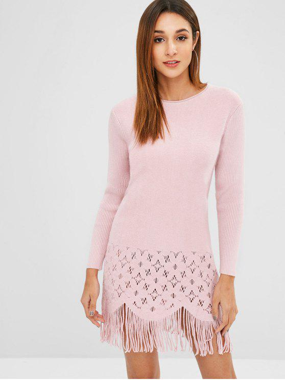 shop Fringe Openwork Sweater Dress - PIG PINK ONE SIZE
