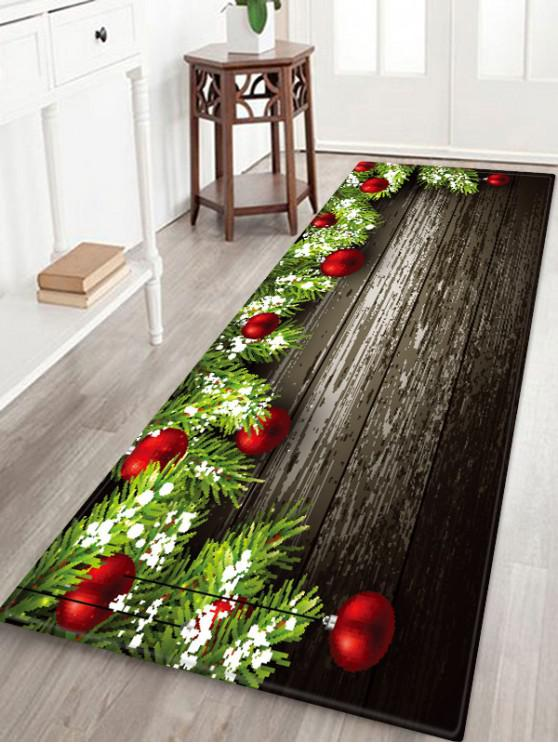 outfits Christmas Balls Wood Pattern Anti-skid Area Rug - MULTI W24 X L71 INCH