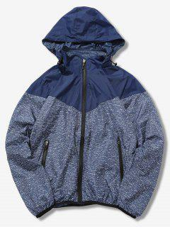 Detachable Hat Splicing Design Reversible Jacket - Deep Blue Xs