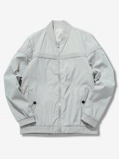 Solid Color Splicing Jacket - Light Gray M