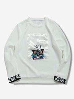Cartoon Cat Print Patchwork Sweatshirt - White S