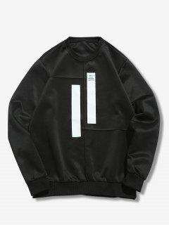 Splicing Stripes Embellished Sweatshirt - Black Xs