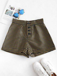 Button Fly Houndstooth Shorts - Multi M