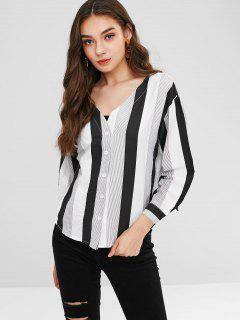 V Neck Striped Button Up Top - Multi