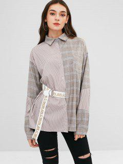 Plaid Letter Pocket Longline Shirt - Multi