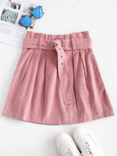 Pleated-detail Corduroy Skirt - Pig Pink M