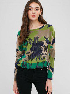 Camouflage Letter Drop Shoulder T-shirt - Woodland Camouflage Xl
