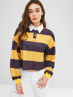 Raw Hem Striped Loose Sweatshirt - Sun Yellow S
