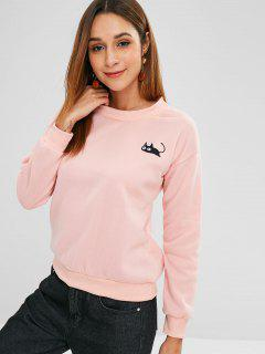 Fleece Cat Embroidery Sweatshirt - Pink Xl
