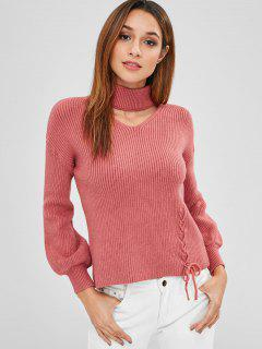 Lace Up Choker Sweater - Chestnut Red