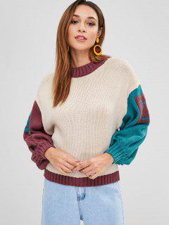Color Block Drop Shoulder Casual Sweater - Multi-a