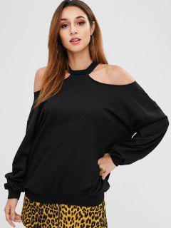 Cut Out Open Shoulder Sweatshirt - Black M