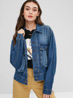 Cargo Pocket Faded Denim Jacket - Blue