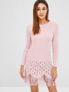 Vestido De Suéter De Franja Calada - Cerdo Rosa