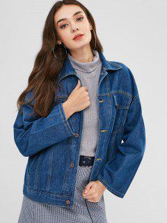 Button Up Shirt Denim Jacket - Denim Dark Blue L
