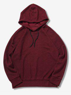 Casual Solid Color Hoodie - Red Wine M