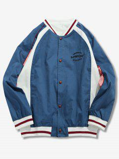 Hit Color Embroidery Jacket - Silk Blue L