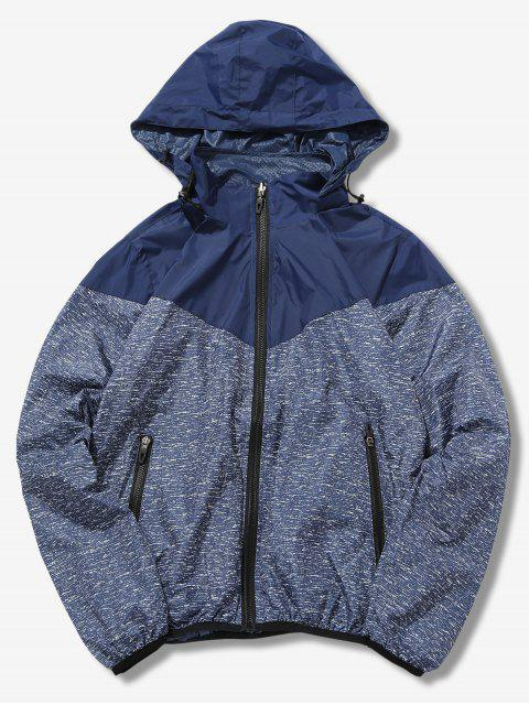 affordable Detachable Hat Splicing Design Reversible Jacket - DEEP BLUE S Mobile