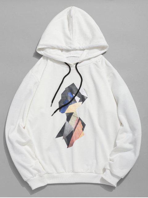 women Colorful Geometric Head Pattern Hoodie - WHITE XL Mobile
