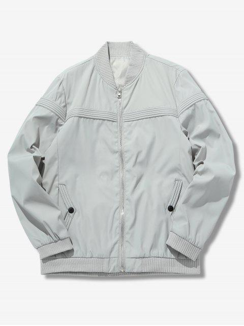 buy Solid Color Splicing Jacket - LIGHT GRAY M Mobile