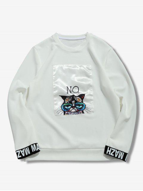 womens Cartoon Cat Print Patchwork Sweatshirt - WHITE XL Mobile