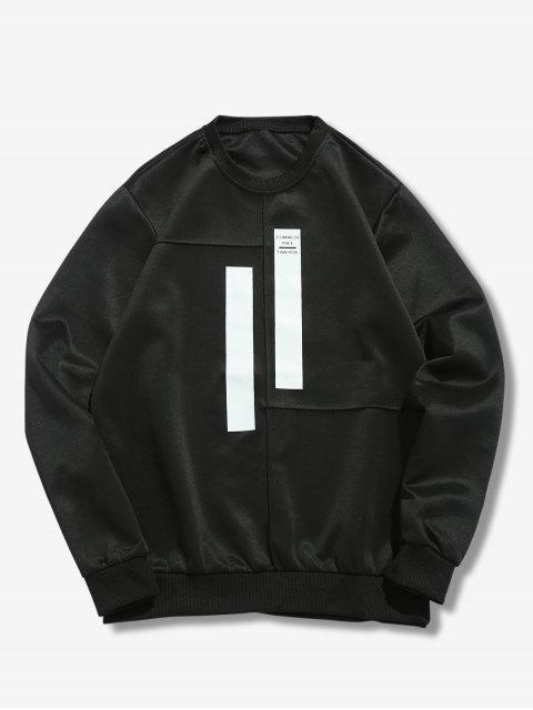 outfit Splicing Stripes Embellished Sweatshirt - BLACK M Mobile
