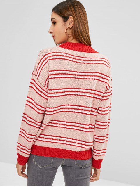 outfits Loose Fit Striped Multicolor Sweater - MULTI ONE SIZE Mobile