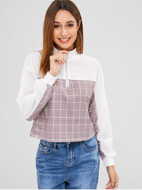 best Half Zip Houndstooth Sweatshirt - WHITE L Mobile