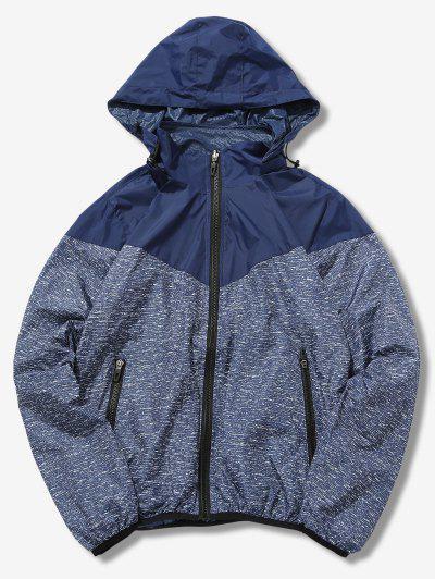 Detachable Hat Splicing Design Reversible Jacket - Deep Blue M