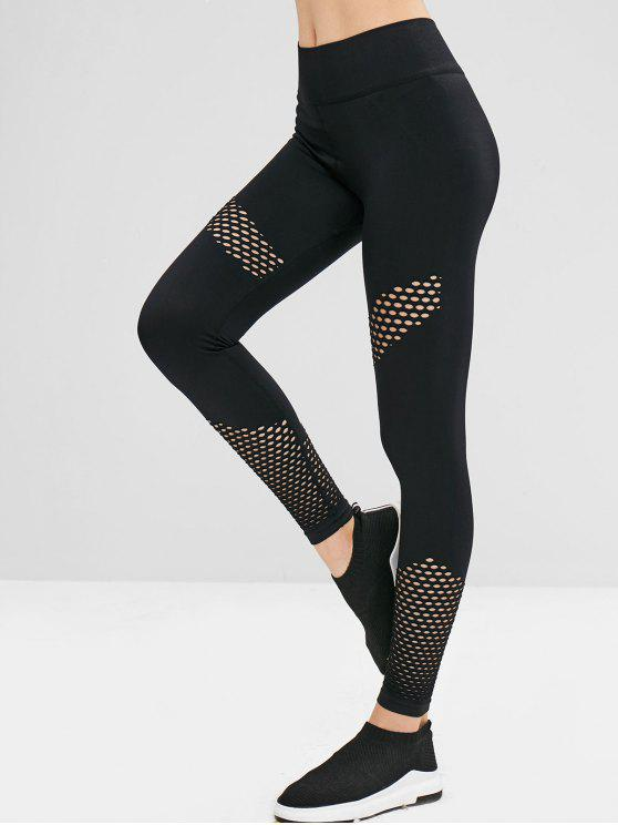 trendy Gym High Waisted Perforated Leggings - BLACK L