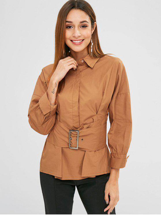 outfit Buckled Pleated Waist Crisp Shirt - TIGER ORANGE M