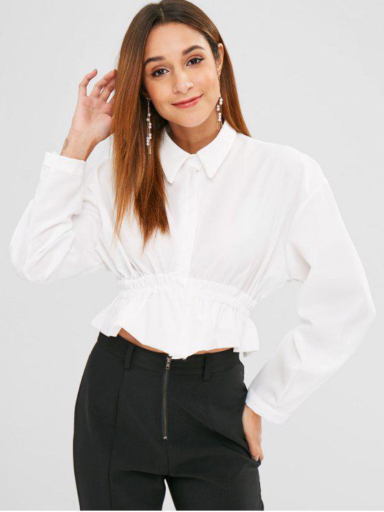 Blouse Ouvert au Dos à Taille Plissée - Blanc Taille Unique