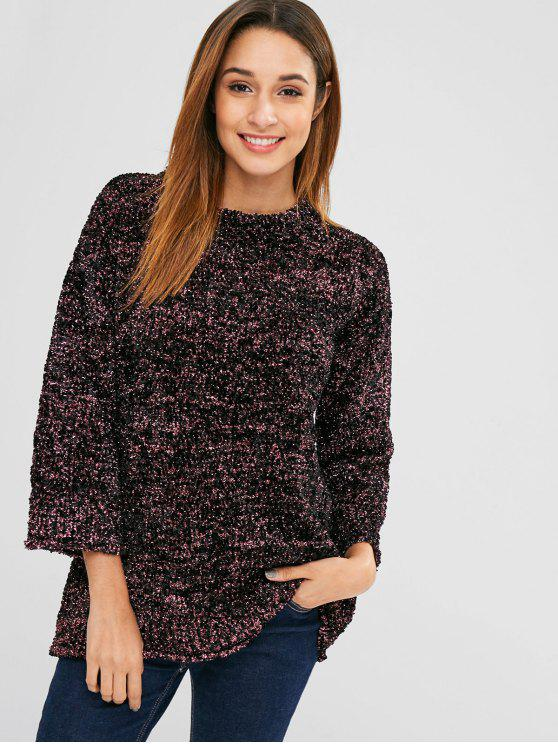 chic Mixed Yarn Glittering Textured Sweatshirt - MULTI ONE SIZE
