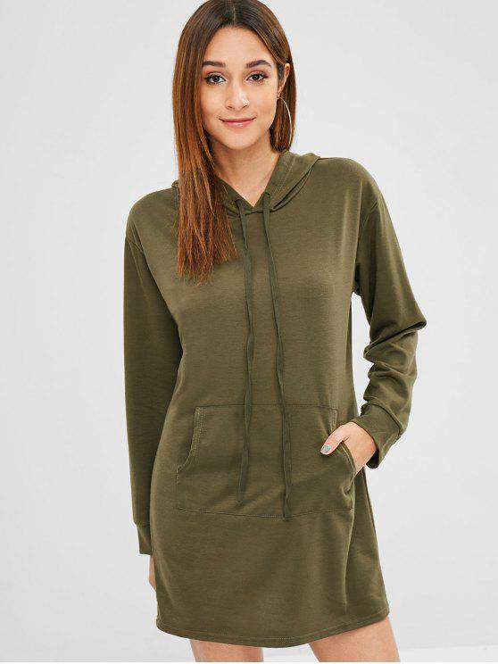 affordable Pouch Pocket Long Hoodie - ARMY GREEN L
