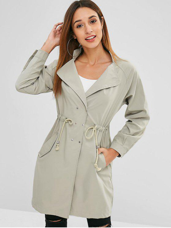 lady Snap Buttons Side Pockets Trench Coat - LIGHT KHAKI L