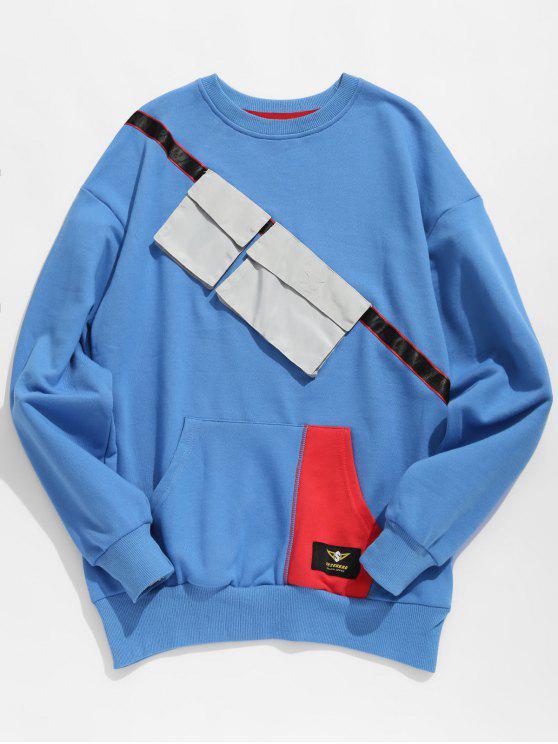Brusttaschen verschönert Sweatshirt - Blau XL