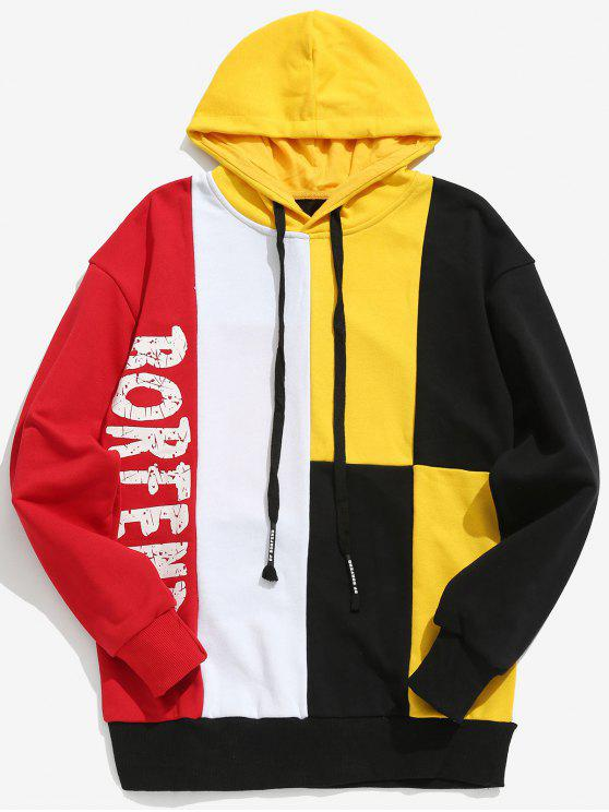 outfits Color Block Letter Streetwear Hoodie - YELLOW XL