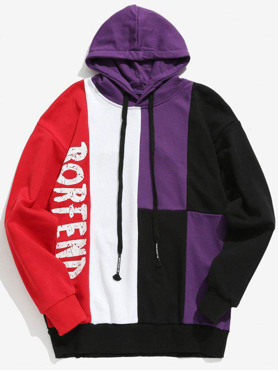trendy Color Block Letter Streetwear Hoodie - PURPLE XL