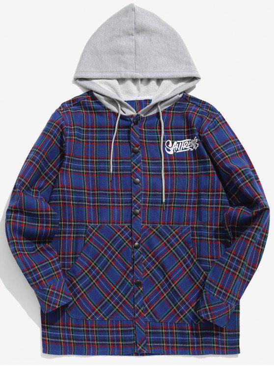 women Plaid Drawstring Hooded Shirt - BLUE M