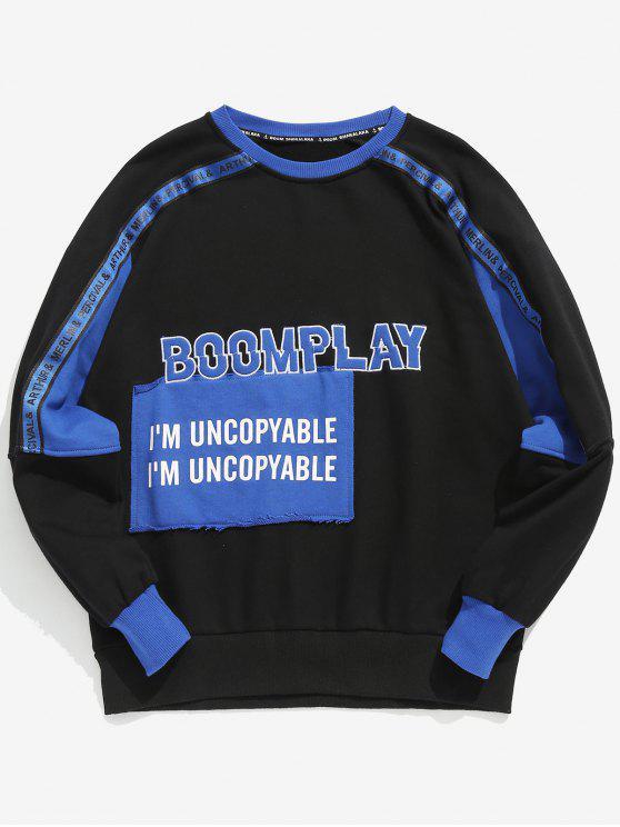 affordable Printed Stripe Pattern Patchwork Sweatshirt - BLUE 2XL
