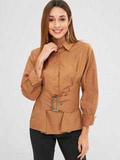 Buckled Pleated Waist Crisp Shirt - Tiger Orange M