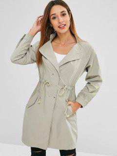 Snap Buttons Side Pockets Trench Coat - Light Khaki M