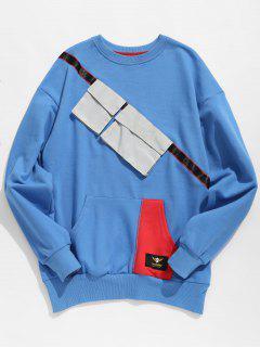 Chest Pockets Embellished Sweatshirt - Blue Xl