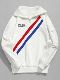 Colorful Stripes Half Zip Collar Sweatshirt - White L