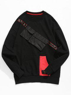 Chest Pockets Embellished Sweatshirt - Black Xl