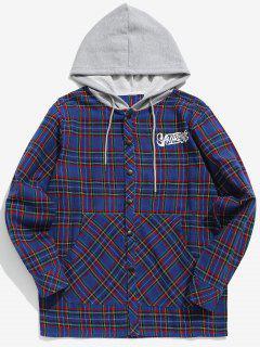 Plaid Drawstring Hooded Shirt - Blue 2xl