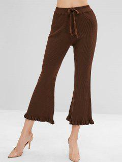 Frilled High Waisted Wide Leg Knit Pants - Coffee