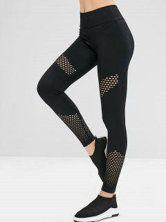 Gym High Waisted Perforated Leggings - Black L