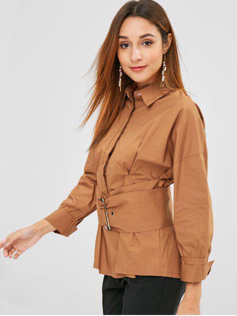 fashion Buckled Pleated Waist Crisp Shirt - TIGER ORANGE L Mobile