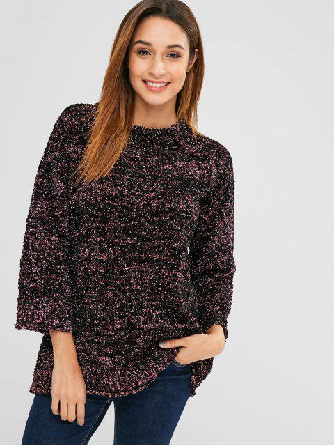 chic Mixed Yarn Glittering Textured Sweatshirt - MULTI ONE SIZE Mobile
